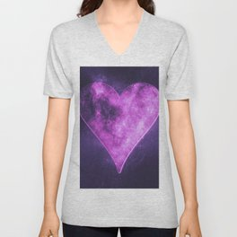 Heart symbol. Playing card. Abstract night sky background Unisex V-Neck