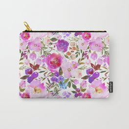 Elegant blush pink violet lavender watercolor summer floral Carry-All Pouch