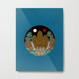 Minhwa: Sun, Moon and 5 Mountains: King's painting B_2 Type (Korean traditional/folk art) Metal Print