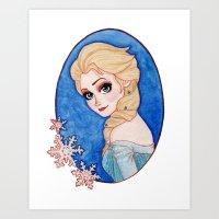 frozen elsa Art Prints featuring Elsa - Frozen by Naineuh