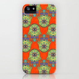 Colorful  Hamsa Hand pattern with paisley iPhone Case