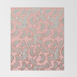 Beautiful Pink Grey and Rose Gold Floral Pattern Throw Blanket