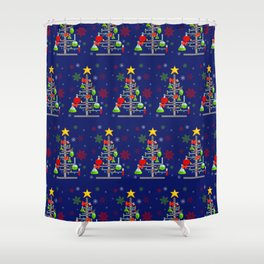 Red & Green Chemistree Shower Curtain