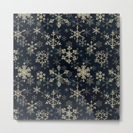 Snowflake Crystals in Gold Metal Print