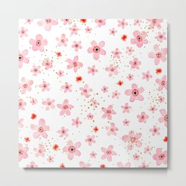 Cute Pink Flowers Metal Print