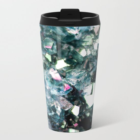 Geode Crystal Turquoise Pink Quartz Metal Travel Mug