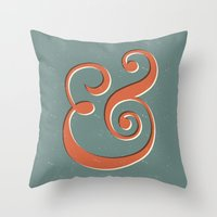 ampersand Throw Pillows featuring Ampersand by Bill Pyle