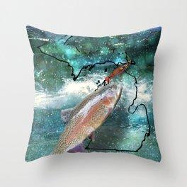 Fishing Michigan Throw Pillow
