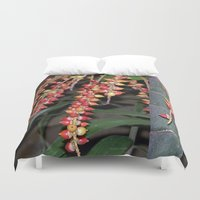 indonesia Duvet Covers featuring coffee plant (Bali, Indonesia) by Christian Haberäcker - acryl abstract