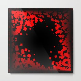 Postcard of red diamonds on a black background. Metal Print