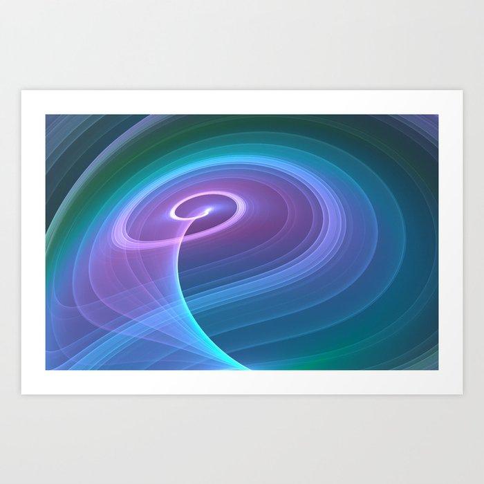 Spiral of Light in Blue Art Print