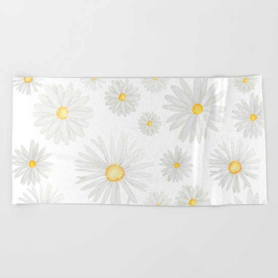 white daisy pattern watercolor Beach Towel