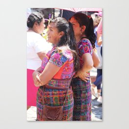 Two Guatemalan Girls Viewing Processions Canvas Print