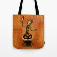 groot Tote Bags featuring Groot by Anna Shell