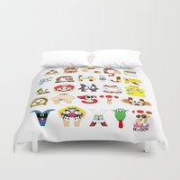 super mario Duvet Covers featuring Super Mario Alphabet by Mike Boon