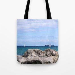 Sailing behind the rock Tote Bag
