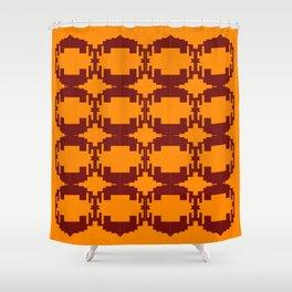 Ethno design blocks, gold Shower Curtain