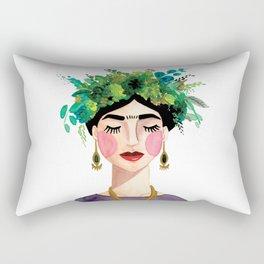 Floral Frida - Gray Rectangular Pillow