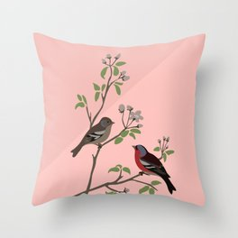 Peaceful harmony in the cherry tree - Illustration Throw Pillow