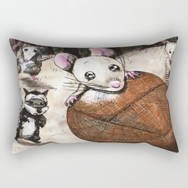 "Childrens Book Illustration ""How the Mouse got his wings"" Rectangular Pillow"