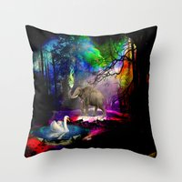 decal Throw Pillows featuring Fantasy forest by haroulita
