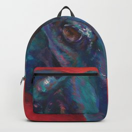 Greyhound on Red Backpack