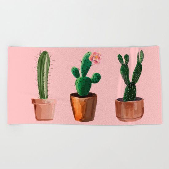 Three Cacti On Pink Background Beach Towel