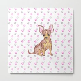 Cute Chihuahua Puppy in Watercolor and Paw Prints Metal Print