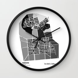 ADELAIDE BLACK & WHITE MAP Wall Clock