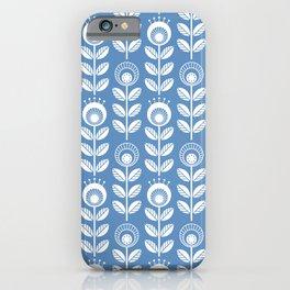 SCANDI GARDEN 01-5, white on blue iPhone Case