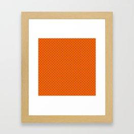 Bright Halloween Orange & Black Polka Dot Pattern Framed Art Print