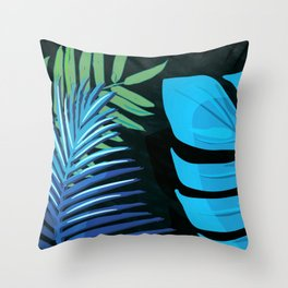TROTROPICAL LEAVES & BLACK no3cPICAL LEAVES & BLACK no3c1 Throw Pillow