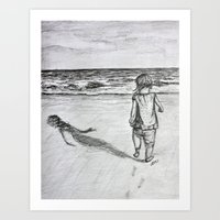 toddler Art Prints featuring Toddler on the Beach Drawing by DonnaBellas