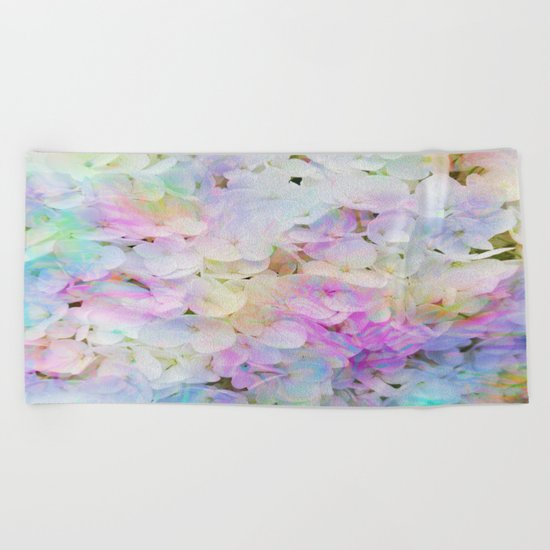 Marble Lights Hydrangea Beach Towel