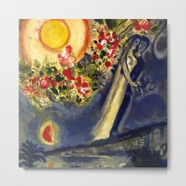 Lovers in the sky over Nice, France by Marc Chagall Metal Print