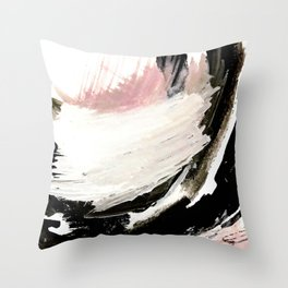 Crash: an abstract mixed media piece in black white and pink Throw Pillow