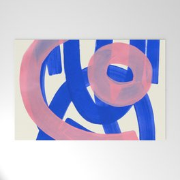 Tribal Pink Blue Fun Colorful Mid Century Modern Abstract Painting Shapes Pattern Welcome Mat