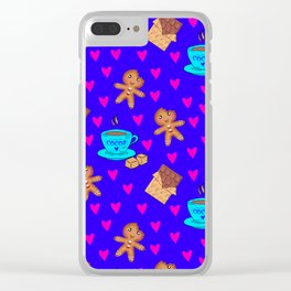 Lovely sweet gingerbread men cookies, chocolate bars, cups of hot cocoa, pink hearts winter pattern Clear iPhone Case