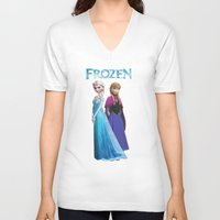 duvet cover V-neck T-shirts featuring Frozen anna elsa duvet cover by customgift