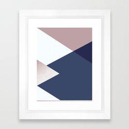 Geometrics - blush indigo rose gold Framed Art Print