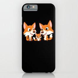 Fox Family Cartoon Children Animal Motif iPhone Case