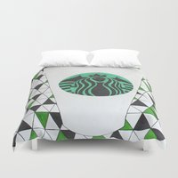 starbucks Duvet Covers featuring Starbucks Mermaid  by Clawson Creatives
