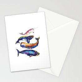 Whale Pyramid #4 - Watercolor Whales Stationery Cards