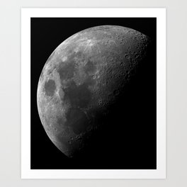 Grey Moon on Black Sky Art Print