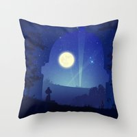 iron giant Throw Pillows featuring Iron Giant by Ape Meets Girl