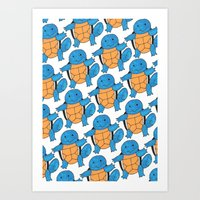 squirtle Art Prints featuring  1 Squirtle, 2 Squirtle, 3 Squirtle, 4 by pkarnold + The Cult Print Shop