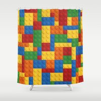 playstation Shower Curtains featuring Lego bricks by eARTh