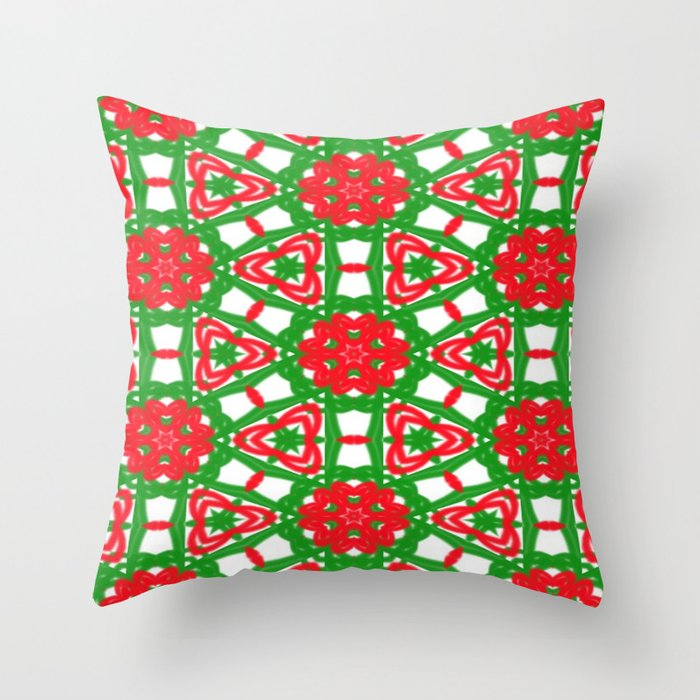 Red, Green and White Kaleidoscope 3372 Throw Pillow