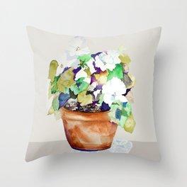 Pots of Petunias Throw Pillow