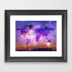 world map galaxy sky Framed Art Print